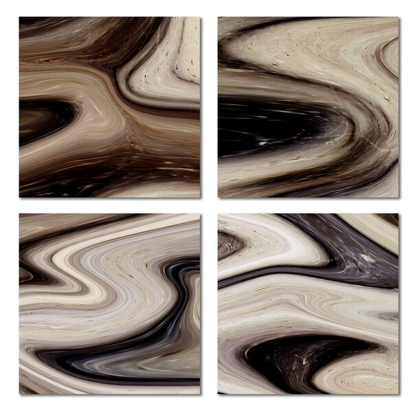 Custom 6 x 6 Beveled Glass Field Tile in Black/Brown by Upscale Designs by EMA