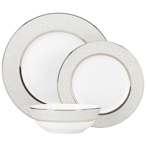Pearl Beads Bone China 3 Piece Place Setting, Service for 1 by Lenox