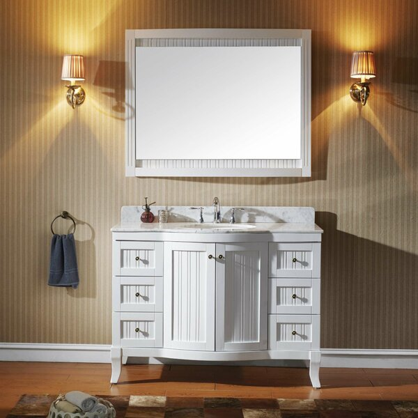 Zellers 48 Single Bathroom Vanity Set with White Marble Top and Mirror by House of Hampton