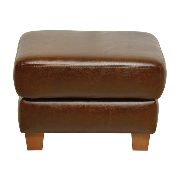 Oaks Leather Ottoman by Loon Peak