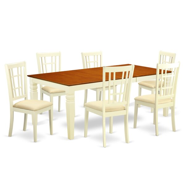 Beesley 7 Piece Buttermilk/Cherry HardWood Dining Set by Darby Home Co