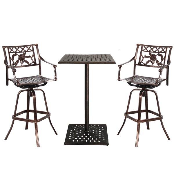 Thornton Rose Cast Aluminum 3 Piece Bar Height Dining Set by Fleur De Lis Living