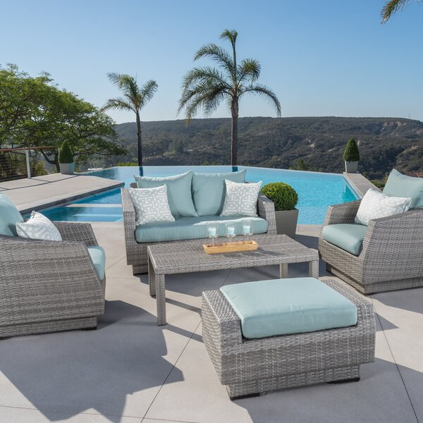 Castelli 5 Piece Sunbrella Sofa Set with Cushions by Wade Logan