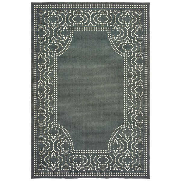 Salerno Intricate Border Gray/Ivory Indoor/Outdoor Area Rug by Charlton Home
