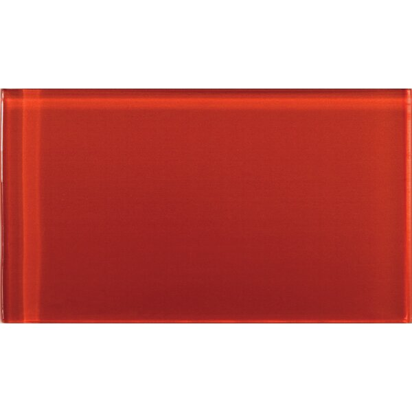 Lucente 3 x 6 Glass Subway Tile in Ruby by Emser Tile