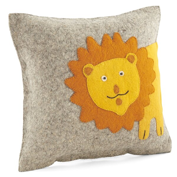 Smiling Lion Wool Pillow Cover by Arcadia Home