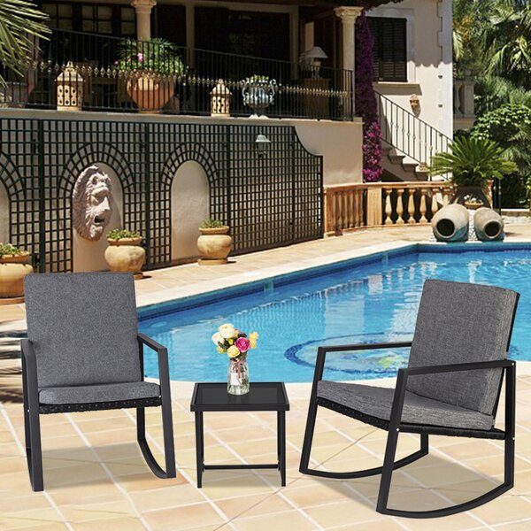 Wymberly 3 Piece Rattan Seating Group with Cushions by Ebern Designs