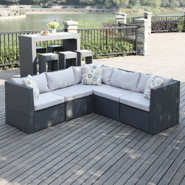 Lachesis Patio Sectional with Cushions by Mercury Row
