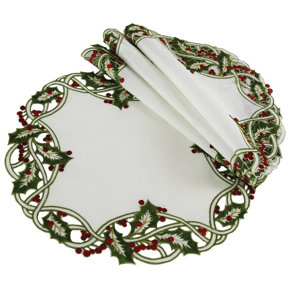 Holiday Holly Embroidered Cutwork Round Christmas