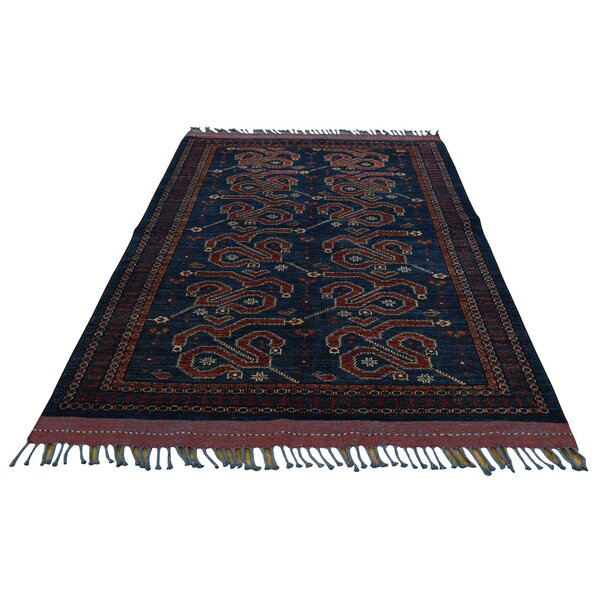 One-of-a-Kind Afghan Ersari Hand-Knotted Navy/Orange Area Rug by Bloomsbury Market