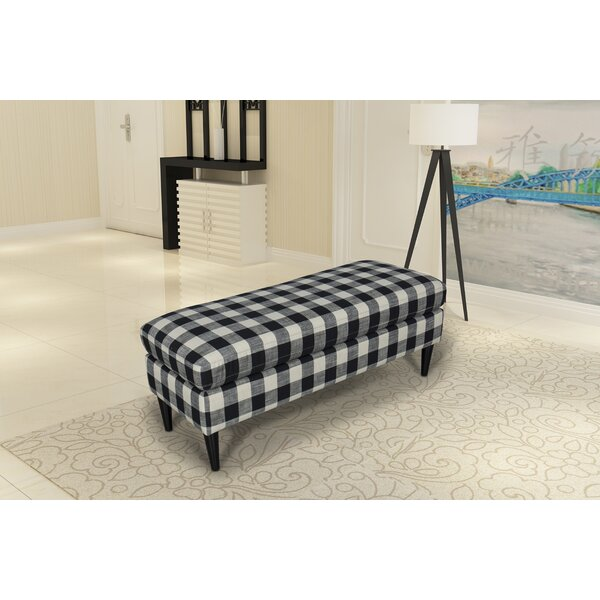 Gracie Oaks Bradford Large Decorative Bench With Pillow Top in  Black Buffalo Check by Gracie Oaks