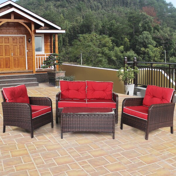 Gualtier Outdoor 4 Piece Rattan Sofa Seating Group with Cushions by Latitude Run