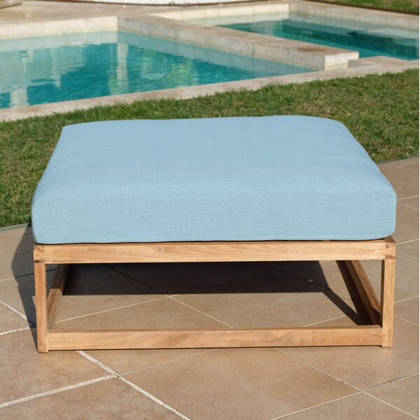Zahn Outdoor Teak Ottoman with Sunbrella Cushions by Rosecliff Heights