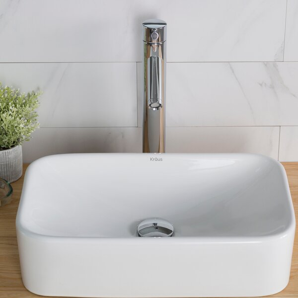 Ceramic Ceramic Rectangular Vessel Bathroom Sink with Faucet