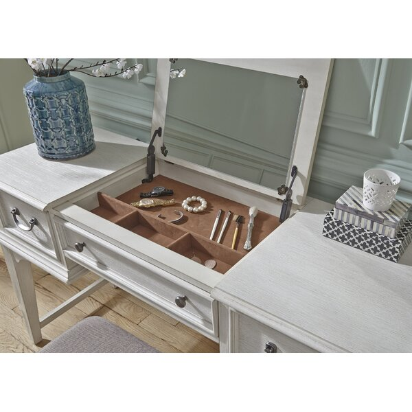 Trenton Vanity Desk with Mirror by Rosecliff Heights