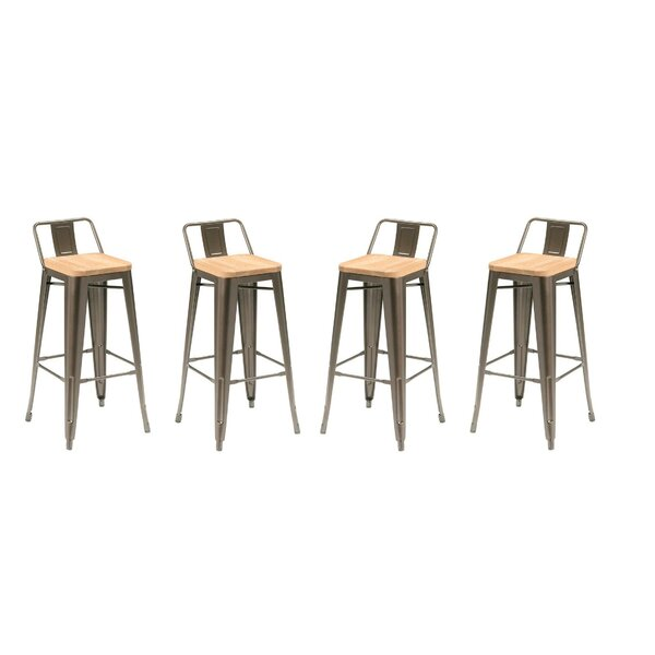 Long Low Back 26 Bar Stool with Wood Seat (Set of 4) by 17 Stories