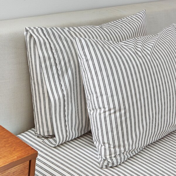 Ticking Stripe 350 Thread Count Pillowcase Set by SPLENDID HOME
