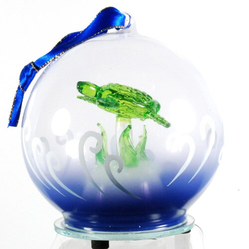 Light Up Glass Sea Turtle Ornament by Unison Gifts