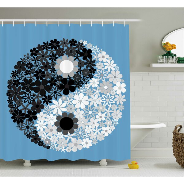 Ying Yang Decor Floral Balance Shower Curtain by East Urban Home