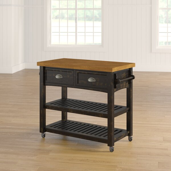 Fortville Kitchen Cart with Wood Top by Three Posts