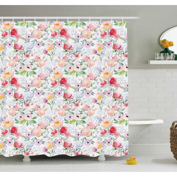 Flower Colorful Watercolor Effect Spring Flowers with Leaves English Country Design Shower Curtain Set by Ambesonne