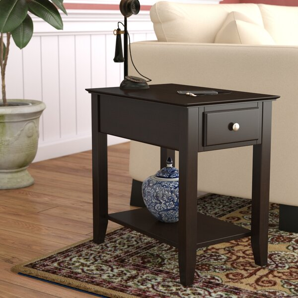 Hadley End Table With Storage  by Three Posts