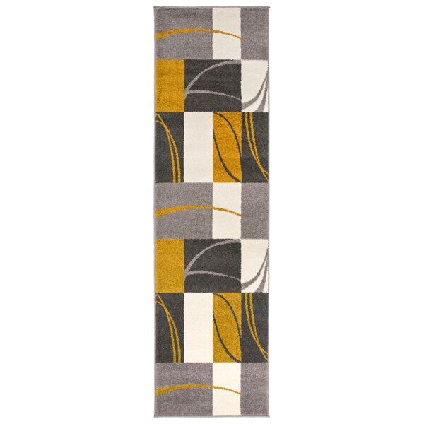 Cardenas Contemporary Boxes Gray/Gold Area Rug by Ebern Designs