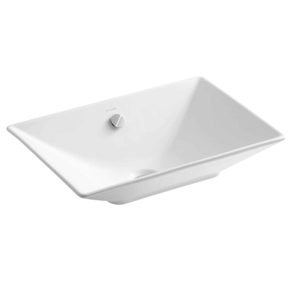 Reve Ceramic Rectangular Vessel Bathroom Sink with Overflow by Kohler