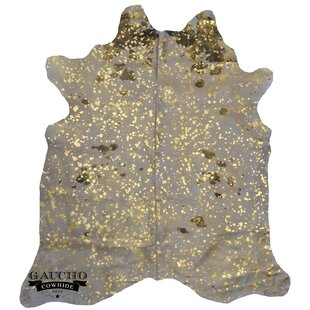 One Of A Kind Fairburn Metallic Exotic Golden Beige Cowhide Area Rug