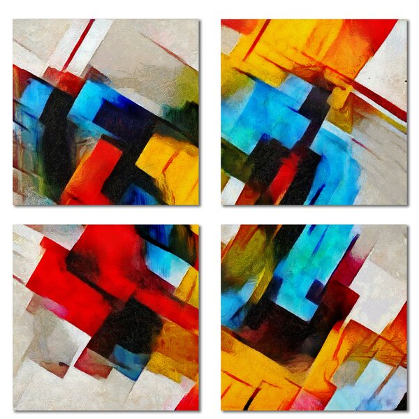 Custom 6 x 6 Beveled Glass Field Tile in Yellow/Blue by Upscale Designs by EMA