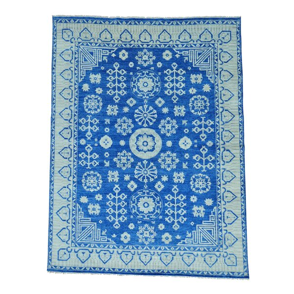 One-of-a-Kind Dimattia Denim Khotan Oriental Hand-Knotted Blue Area Rug by World Menagerie