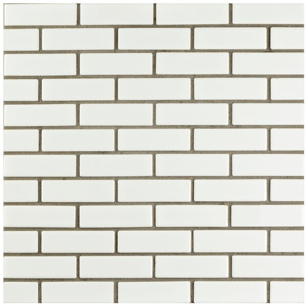 Retro Brick 0.75 x 3 Porcelain Mosaic Tile in Glossy White by EliteTile
