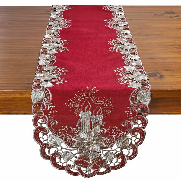 Delsur Candles Bells and Poinsettia Table Runner by The Holiday Aisle