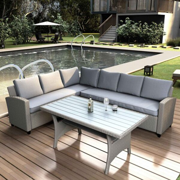 12 Piece Rattan Sectional Seating Group with Cushions by Latitude Run