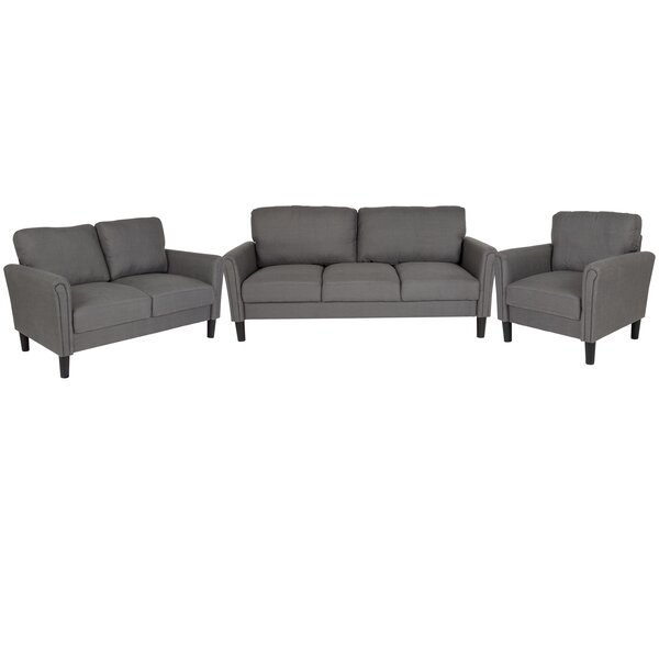Laila Upholstered 3 Piece Living Room Set by Wrought Studio
