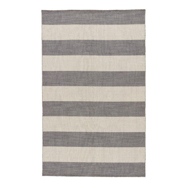 Bayshore Flat-Woven Wool Gray Area Rug by Breakwater Bay