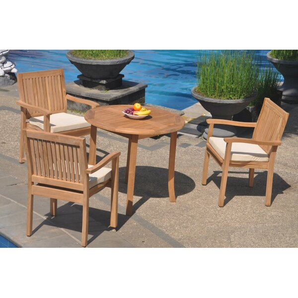 Missouri 4 Piece Teak Dining Set by Rosecliff Heights