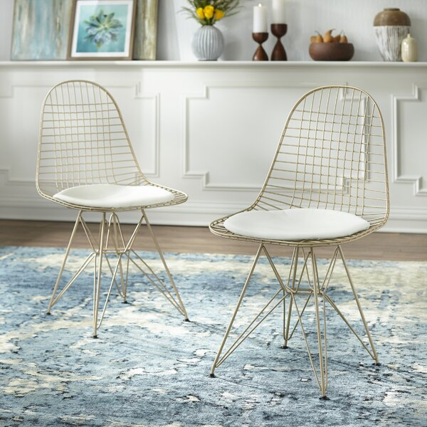 Merrie Wire Upholstered Dining Chair (Set of 2) by Wrought Studio