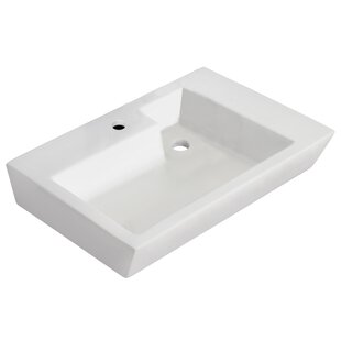 Best Reviews Ceramic 26 Wall Mount Bathroom Sink with Overflow By Royal Purple Bath Kitchen