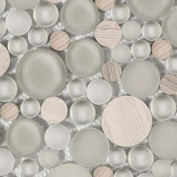 Lucente 12 x 12 Glass Stone Blend Circle Mosaic Tile in Certosa by Emser Tile