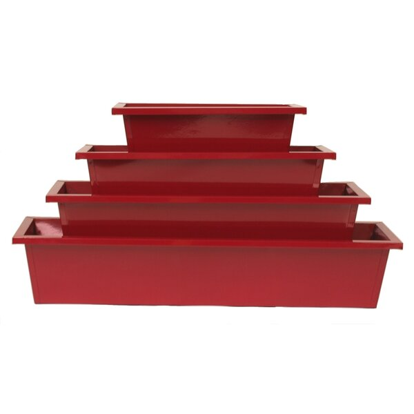 Enameled Galvanized Rectangular 4 Piece Metal Planter Box Set by Houston International
