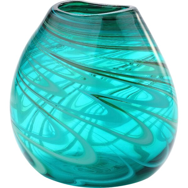 Turquoise Glass Table Vase by Mercury Row
