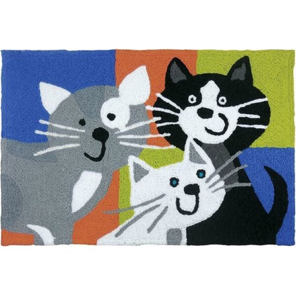 Beatley Kitty Klatch Hand-Tufted Black/Gray/Blue Indoor/Outdoor Area Rug by Winston Porter