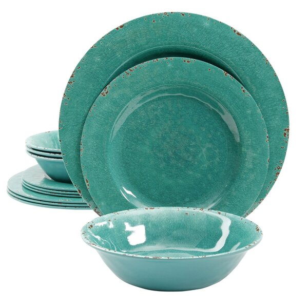 Charlotte 12 Piece Melamine Dinnerware Set, Service for 4 by Mint Pantry