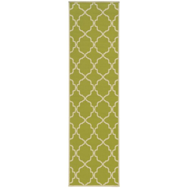 Alford Green/Ivory Geometric Indoor/Outdoor Area Rug by Andover Mills