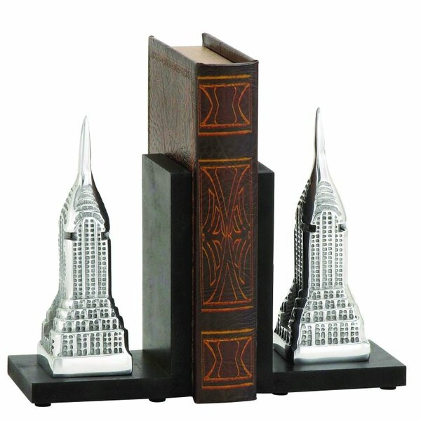 Building Aluminum and Wood Bookends (Set of 2) by Cole & Grey