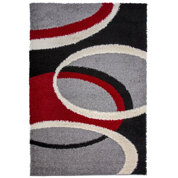 Samantha Cozy Shag Contemporary Geometric Circles Red Area Rug by Ebern Designs