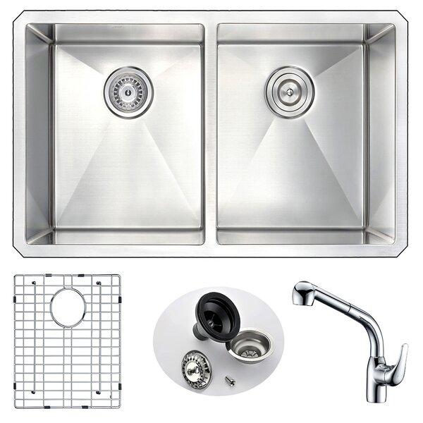 Vanguard 32 L x 18 W Double Bowl Undermount Kitchen Sink and Faucet