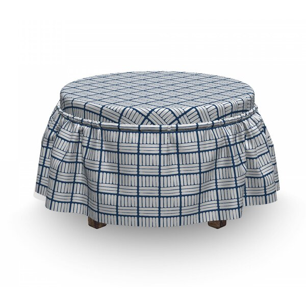 Up To 70% Off Hand Drawn Delft Stripes Ottoman Slipcover (Set Of 2)