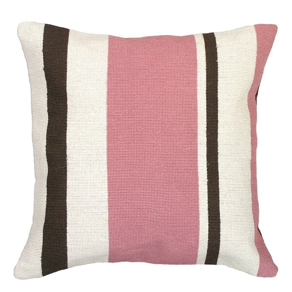 Frey Stripes Needlepoint Wool Throw Pillow by Bungalow Rose